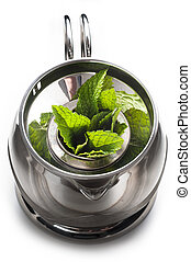 A pot of mint tea with fresh leaves