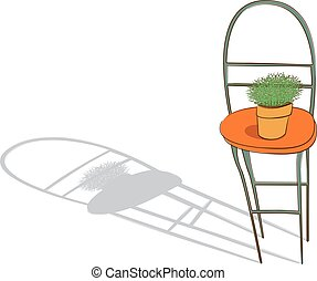 a potted plant is on the chair