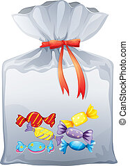 Illustration of a pouch bag of sweets on a white background