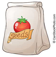 A pouch of tomato seeds - Illustration of a pouch of tomato...