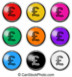 Pound ? sign button icon set isolated on white with clipping path