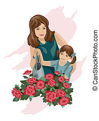 A pouring on flowers. - Mother with daughter are pouring in...