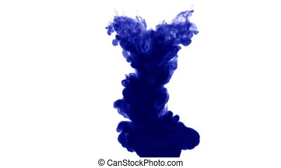 a powerful stream of dark blue ink on a white background dissolves sequentially in water from top to bottom. Side view. as an alpha channel use luma matte