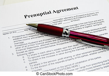 a prenuptial marriage contract and pen