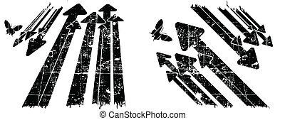 a, preto branco, vetorial, retro, grunge, fundo