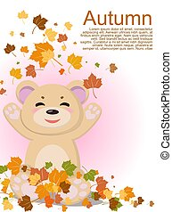 A pretty bear with a smile is pleased with the arrival of autumn and the fallen yellow leaves from the trees. Vector