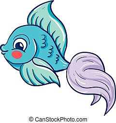 A pretty blue-colored cartoon fish vector or color illustration
