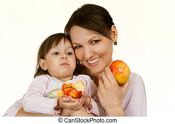 A pretty Caucasian mother with a beautiful daughter