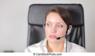 a pretty customer service operator or secretary gets stressed with an angry client / customer