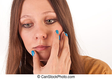 girl with blue nails
