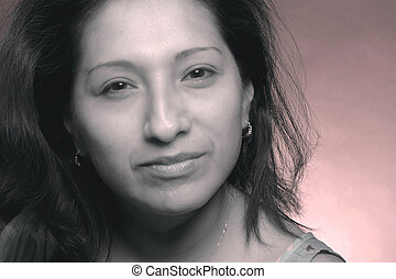 woman - a pretty hispanic woman with a faded background