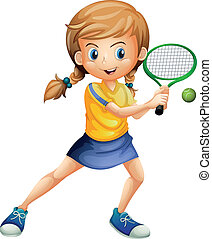 A pretty lady playing tennis - Illustration of a pretty lady...