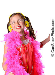 a pretty little girl with a pink feather boa on the white...