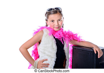 a pretty little girl with a pink feather boa on white...