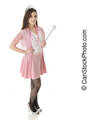 """A pretty teen """"princess"""" happily standing in her crown and with the scepter. On a white background."""