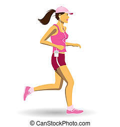 Woman Jogging - A Pretty Woman Jogging, Running