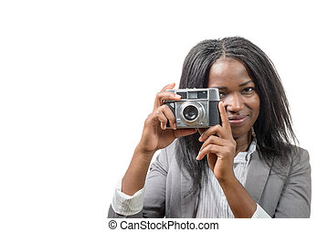 pretty young African American with an old camera