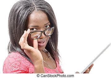 pretty young african american woman with eyeglasses and tablet computer