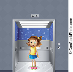 A pretty young girl inside the elevator - Illustration of a...