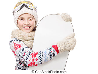 pretty young girl with a snowboard in studio