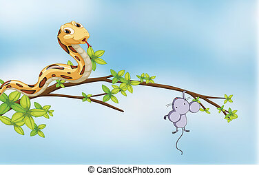 Illustration of a prey and a predator on a tree