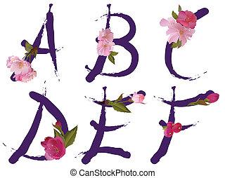 a, printemps, lettres, alphabet