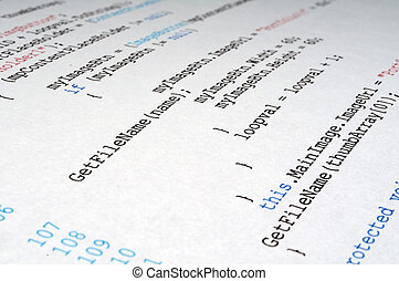 A printout of C# computer programming code language
