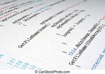 A printout of C# computer programming code language