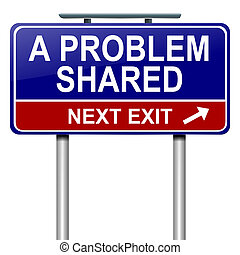 A problem shared. - Illustration depicting a roadsign with...