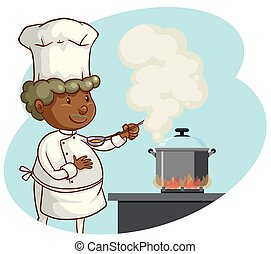 A Professional Chef Cooking on White Background
