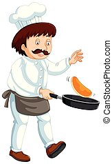 A Professional Chef on White Background