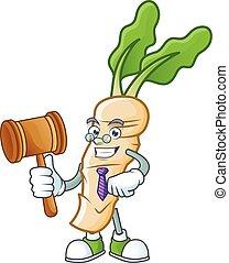 A professional judge horseradish presented in cartoon character design. Vector illustration