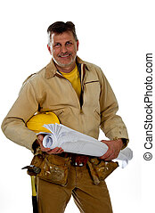 A professional male construction contractor worker wearing a tool belt is holding construction blue print plans and a hard hat.