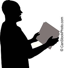a public speaker man head silhouette vector