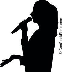 a public speaker woman head silhouette vector