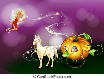 A pumpkin cart with a fairy holding a wand