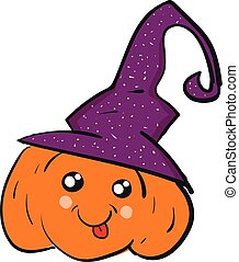 A pumpkin wearing a witch hat looks terrifying vector or color illustration