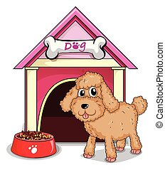 A puppy outside the doghouse