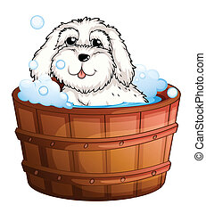 A puppy taking a bath