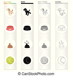 A puppy to urinate, a bowl with food, a pile of feces, a toy ball. The puppy set collection icons in cartoon black monochrome outline style vector symbol stock illustration web.