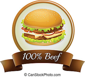 A pure beef label with a burger - Illustration of a pure...