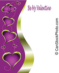 A purple and gold valentines card