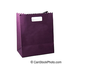 purple color paper bags isolated on white.