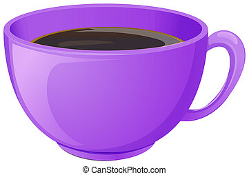 A purple cup with coffee