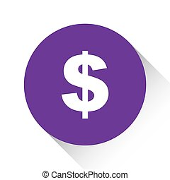 Purple Icon Isolated on a White Background - Dollar Sign