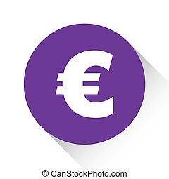 Purple Icon Isolated on a White Background - Euro Sign