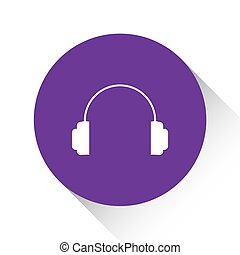 Purple Icon Isolated on a White Background - Headphones