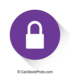 Purple Icon Isolated on a White Background - Padlock