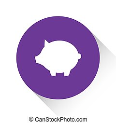 Purple Icon Isolated on a White Background - Piggy Bank