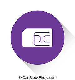 Purple Icon Isolated on a White Background - SIM Card